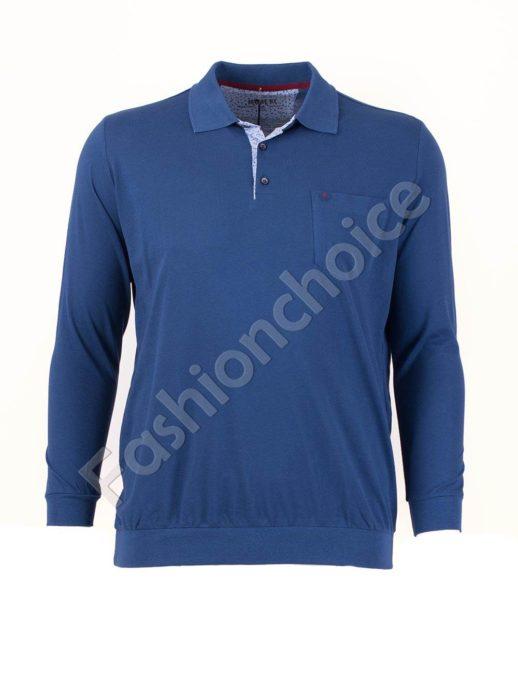 Мъжка блуза с якичка и джобче в цвят парламент/3XL-10XL/