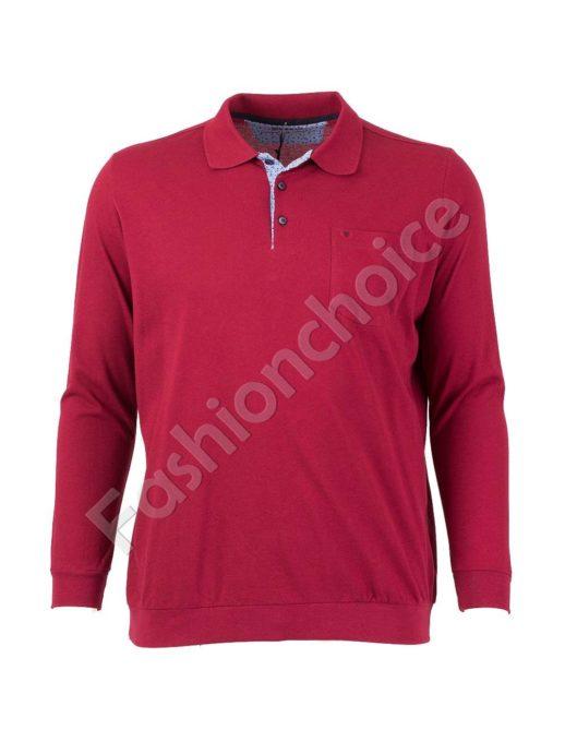 Мъжка блуза с якичка и джобче в бордо/3XL-10XL/