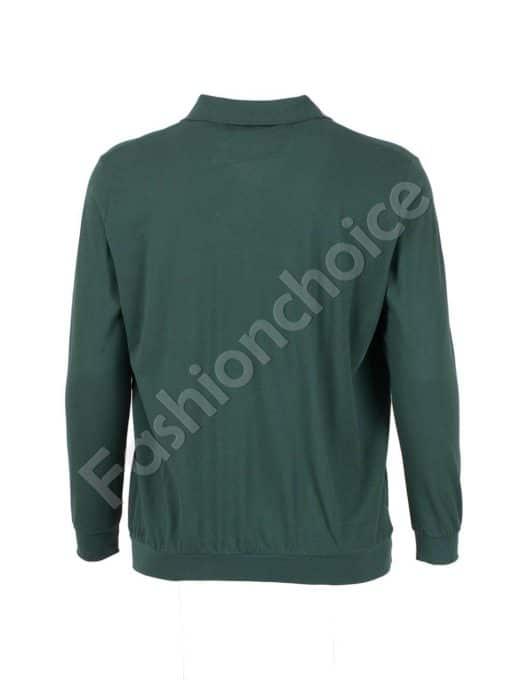 Мъжка блуза с якичка и джобче в зелено/3XL-10XL/