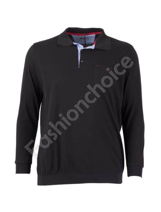 Мъжка блуза с якичка и джобче в черно/3XL-10XL/