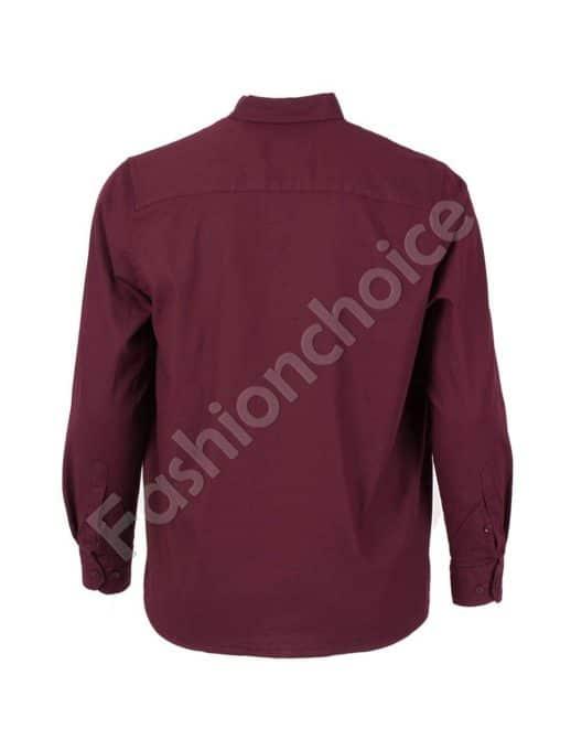 Стилна мъжка риза в цвят бордо/3XL-8XL/