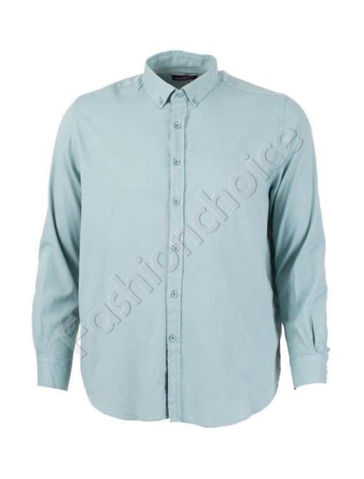 Стилна мъжка риза в цвят мента/3XL-8XL/