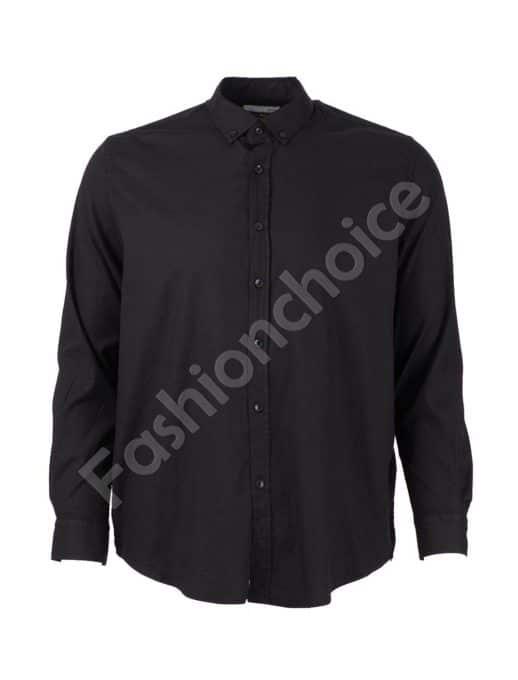 Стилна мъжка риза в класическо черно/3XL-8XL/