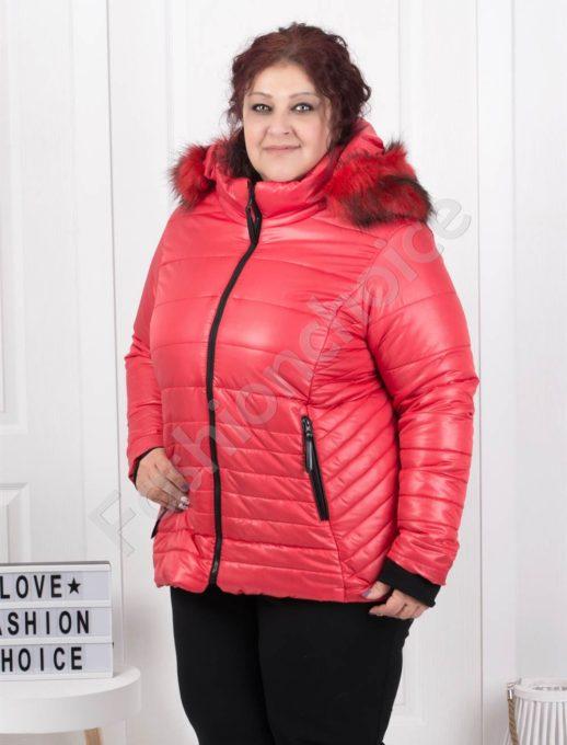 Шушляково зимно макси яке с качулка в червено-Код 179-4