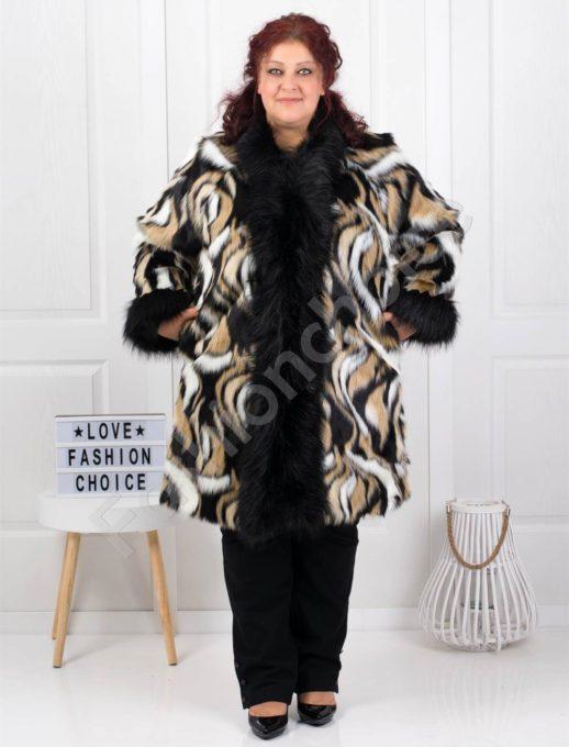 Дизайнерско макси палтенце с еко косъм в абстрактен принт-код 237-2