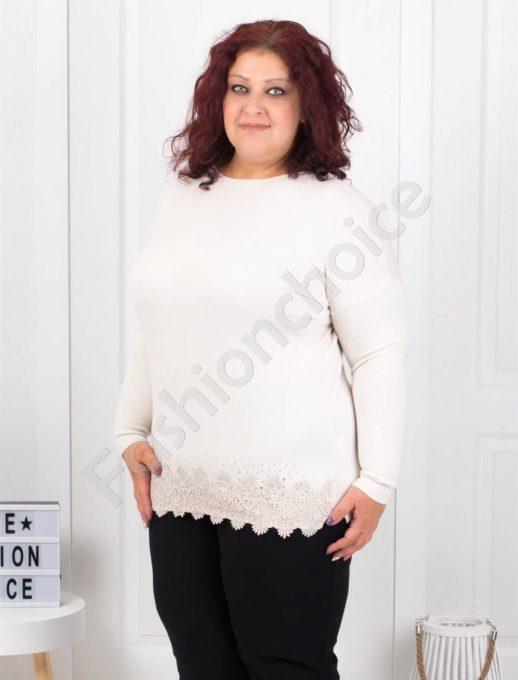 Макси блузка с брюкселска дантела в цвят шампанско-Код 5352-3