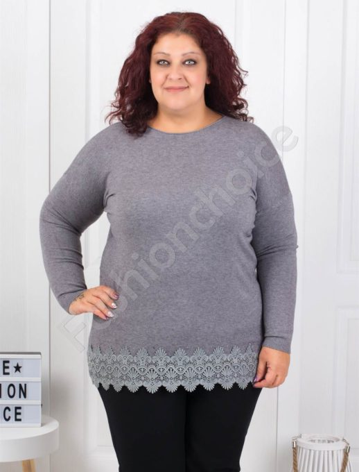 Макси плетена блузка с брюкселска дантела в сиво-Код 5352-5