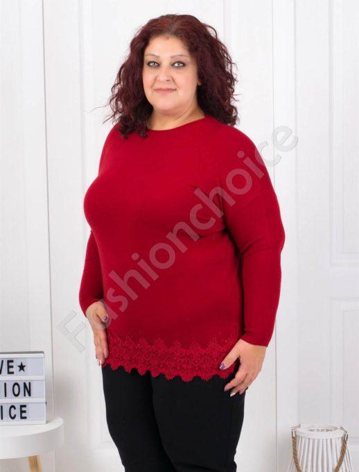 Макси плетена блузка с брюкселска дантела в бордо-Код 5352-8