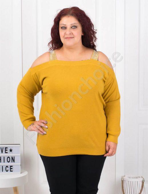 Плетена макси блуза с лодка деколте в цвят горчица-Код 5422-4