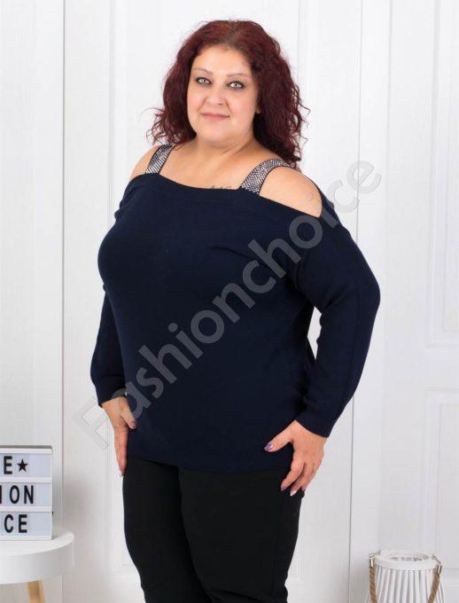 Плетена макси блуза с лодка деколте в тъмносиньо-Код 5422-5