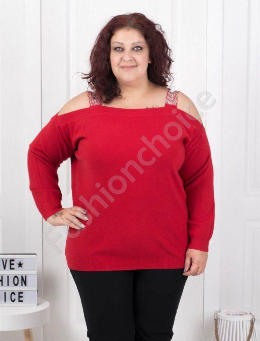 Плетена макси блуза с лодка деколте в червено-Код 5422-1
