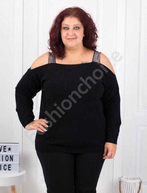 Плетена макси блуза с лодка деколте в черно-Код 5422