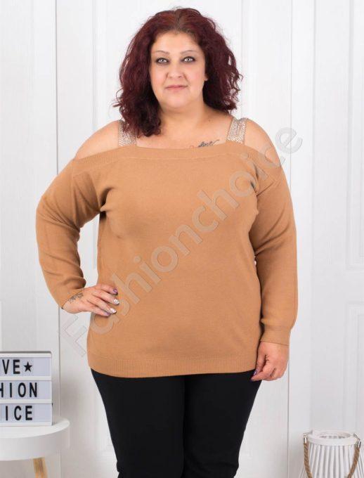 Плетена макси блуза с лодка деколте в цвят камел-Код 5422-3