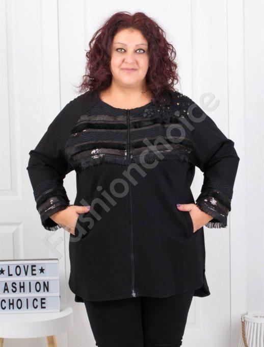 Късо дамско макси палтенце с кокетни пайети