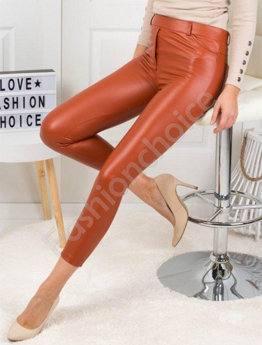 Кожен плътен панталон в цвят керемида-Код 1364