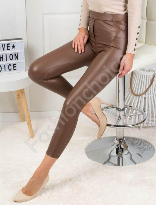 Модерен кожен плътен панталон в кафяво-Код 1364-1