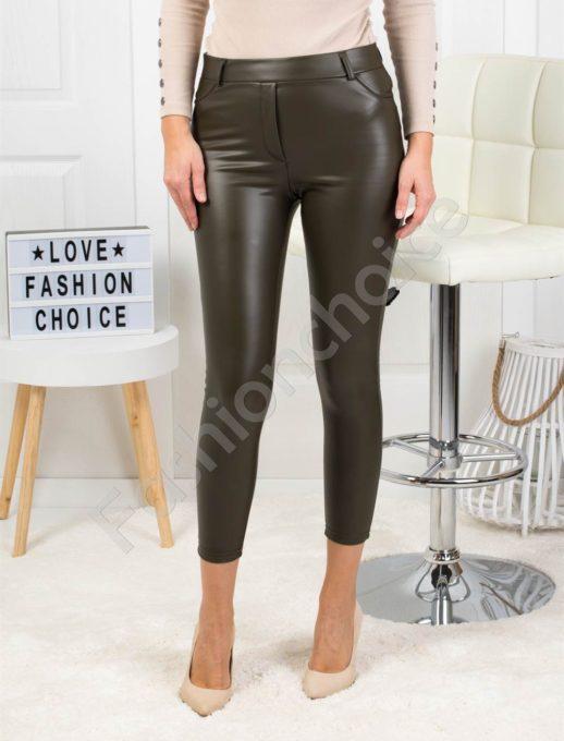 Модерен кожен плътен панталон в цвят каки-Код 1364-2