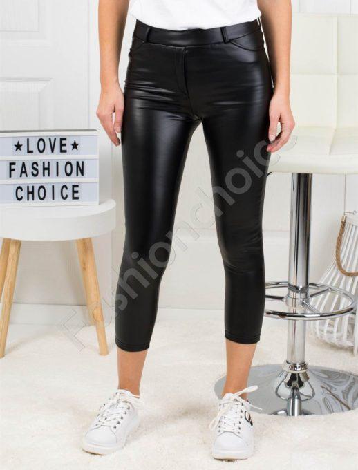 Дамски кожен плътен панталон в черно-Код 1364-4