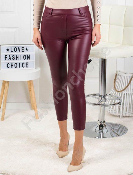 Дамски кожен плътен панталон в бордо-Код 1364-3