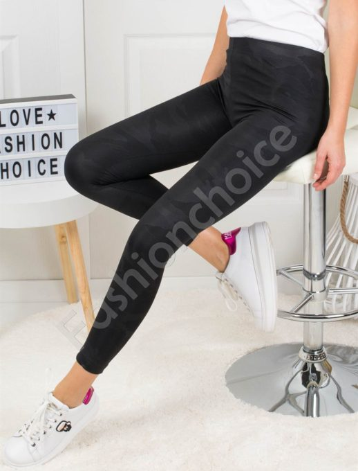 Дамски черен клин с камуфлажен десен-Код 2115