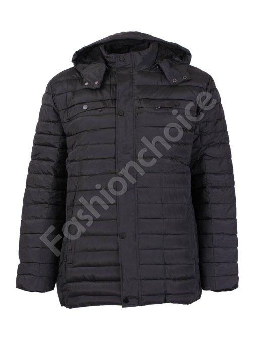 Дълго зимно мъжко макси яке с качулка в черно