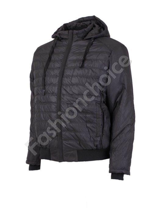 Зимно мъжко макси яке със скрит цип и махаща се качулка