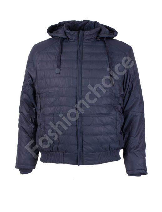 Зимно мъжко макси яке със скрит цип и качулка в синьо