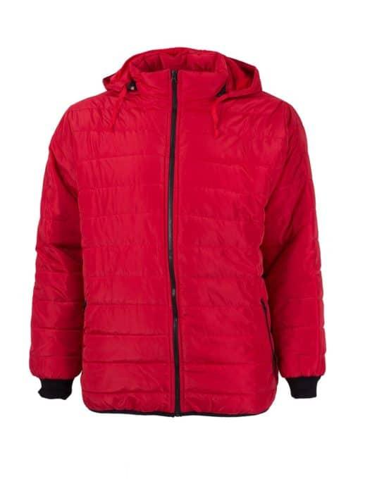 Право зимно мъжко макси яке с качулка в червено-код 024-3