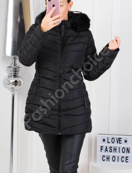 Дълго зимно дамско яке с еко косъм в черно