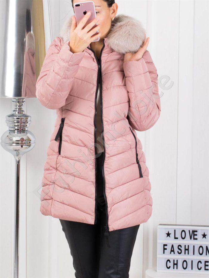 Дълго зимно дамско яке с еко косъм в розово