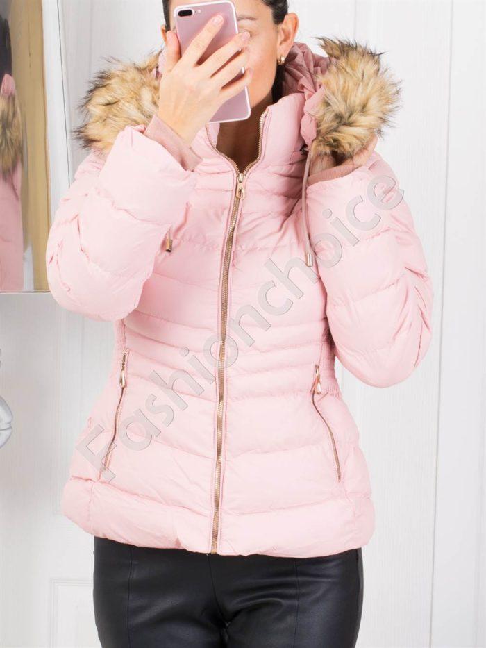 Зимно дамско яке със сваляща се качулка в розово