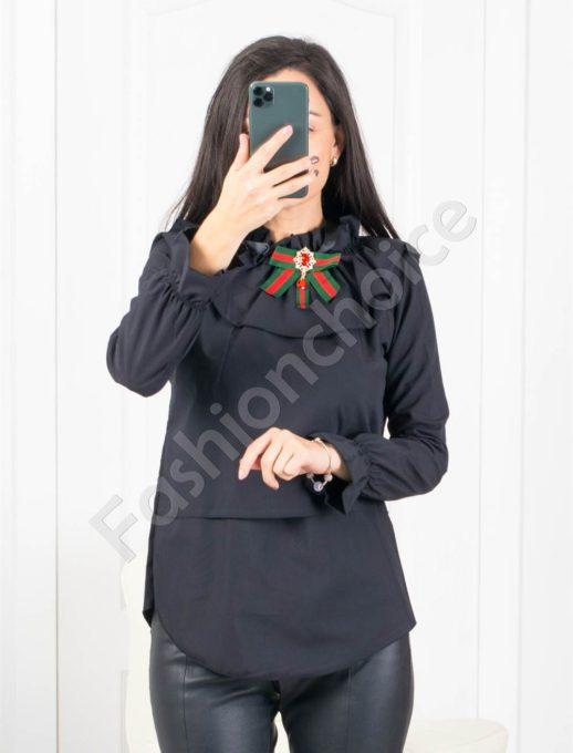 Екстравагантна дамска риза в черно Код 0699-1