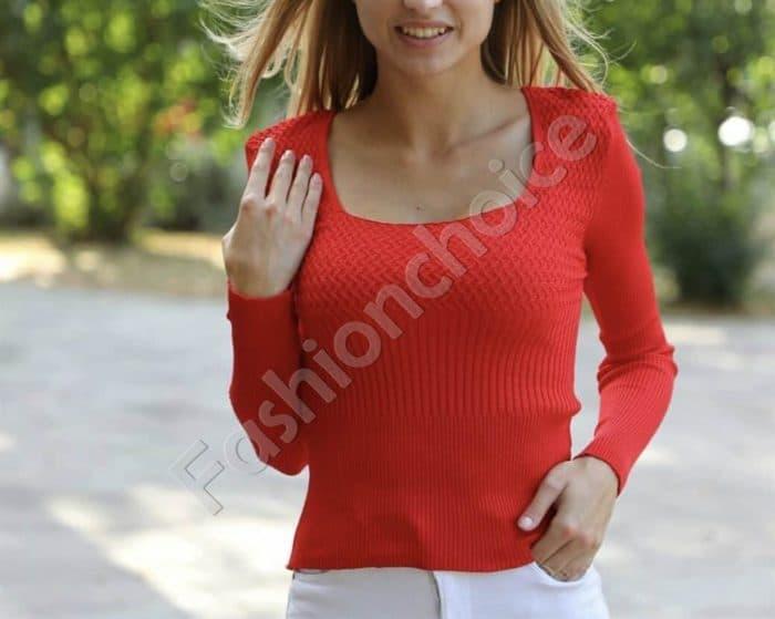 Плетена блузка в червено с широк ластик на талията Код 0380-1