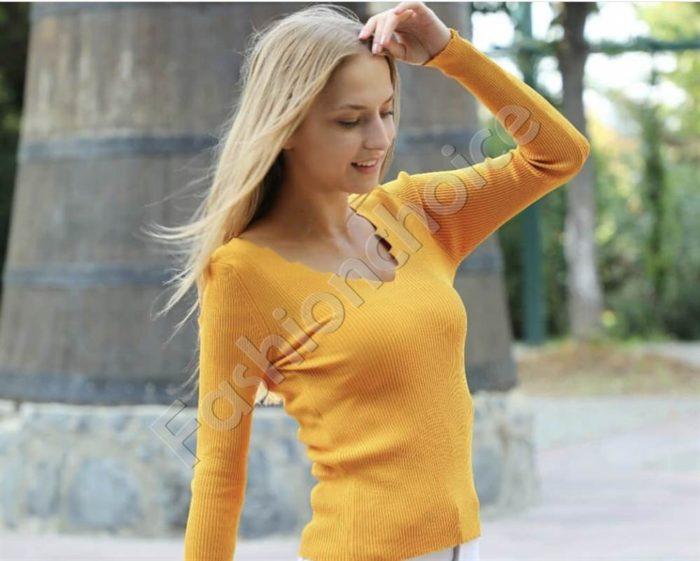 Плетена блузка с остро деколте в цвят горчица Код 0379