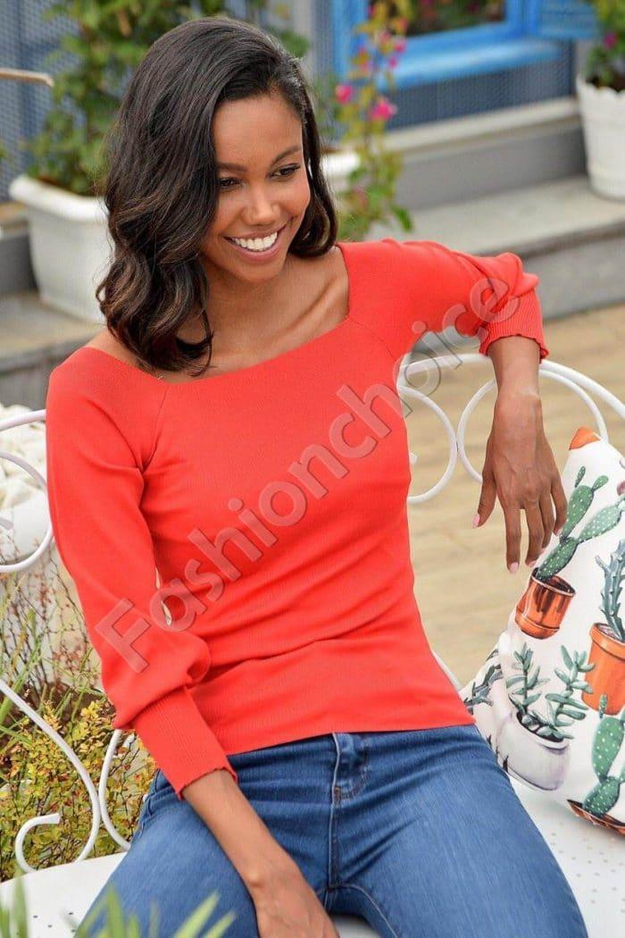 Плетена блузка в червено с ефектно деколте Код 2112-2