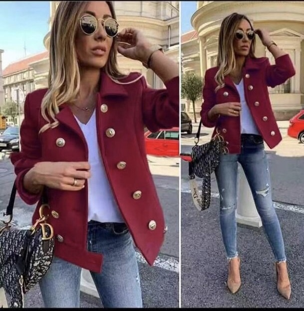 Късо дамско палто в бордо-код 290-2