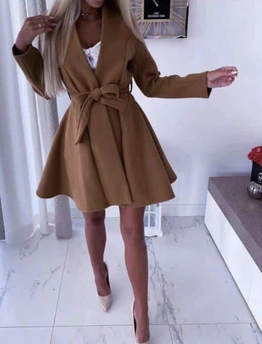 Стилно дамско палто с колан в кафяво-код 289-3