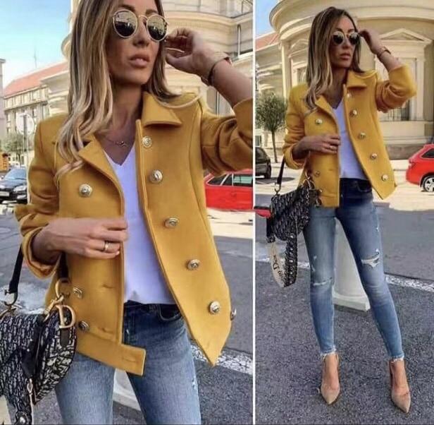 Късо дамско палто в цвят горчица-код 290-3