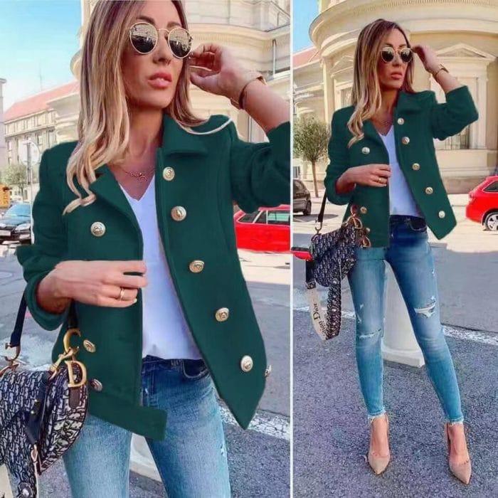 Късо дамско палто в зелено-код 290-1