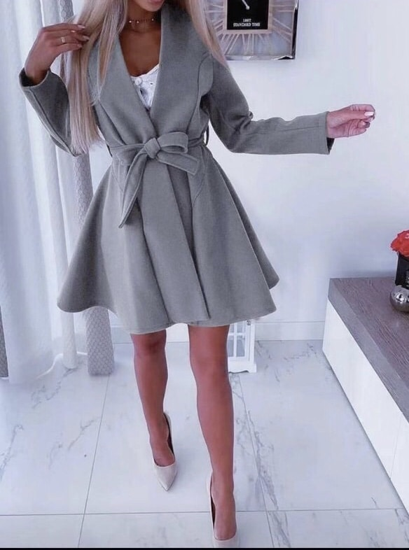 Стилно дамско палто с колан в сиво-код 289-4