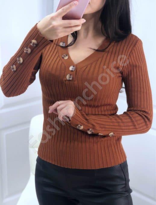 Дамска плетена блуза с копчета в цвят керемида Код 517-3