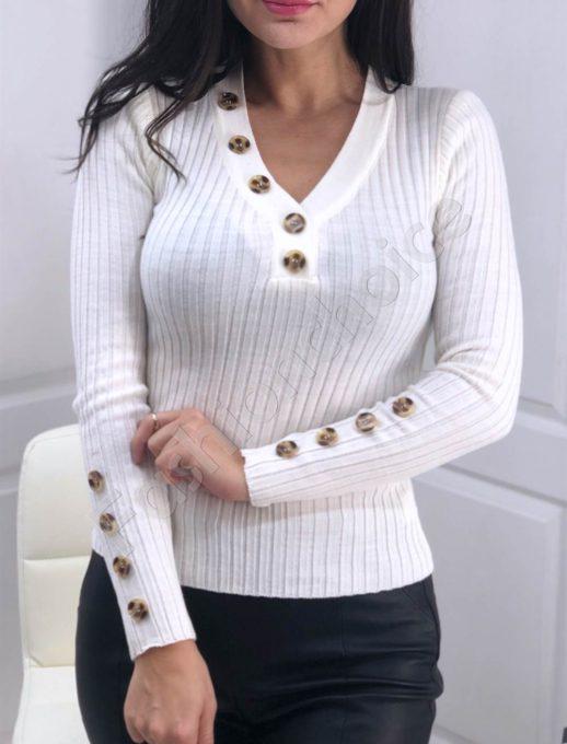 Дамска плетена блуза в бяло с копчета Код 517
