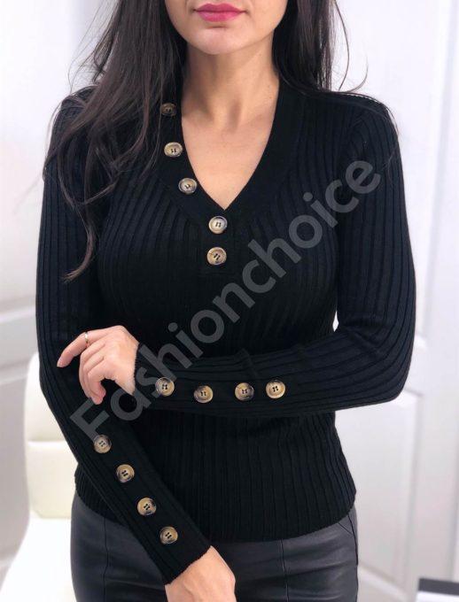 Дамска плетена блуза в черно с копчета Код 517-1