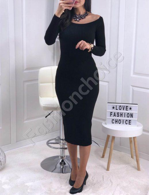 Дълга плетена рокля с лодка деколте в черно Код 0387-1