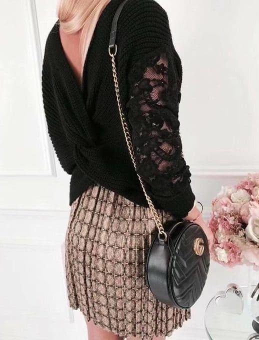 Дамска плетена блуза с дантелени ръкави в черно Код 9135-1