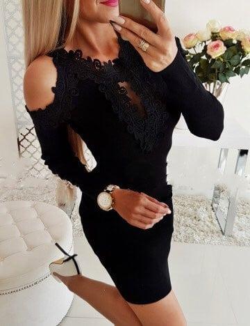 Елегантна рокля в черно с дантела и голи рамене Код 1356-7