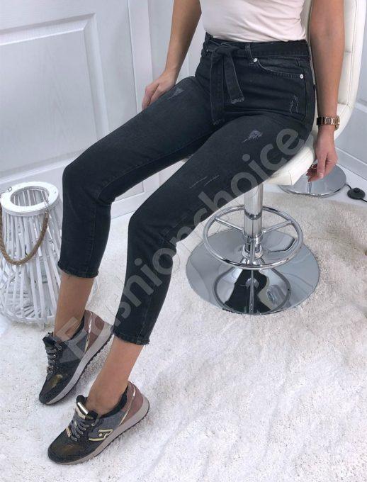 Дамски дънки MOM FIT с висока талия и колан- черни Код 4260