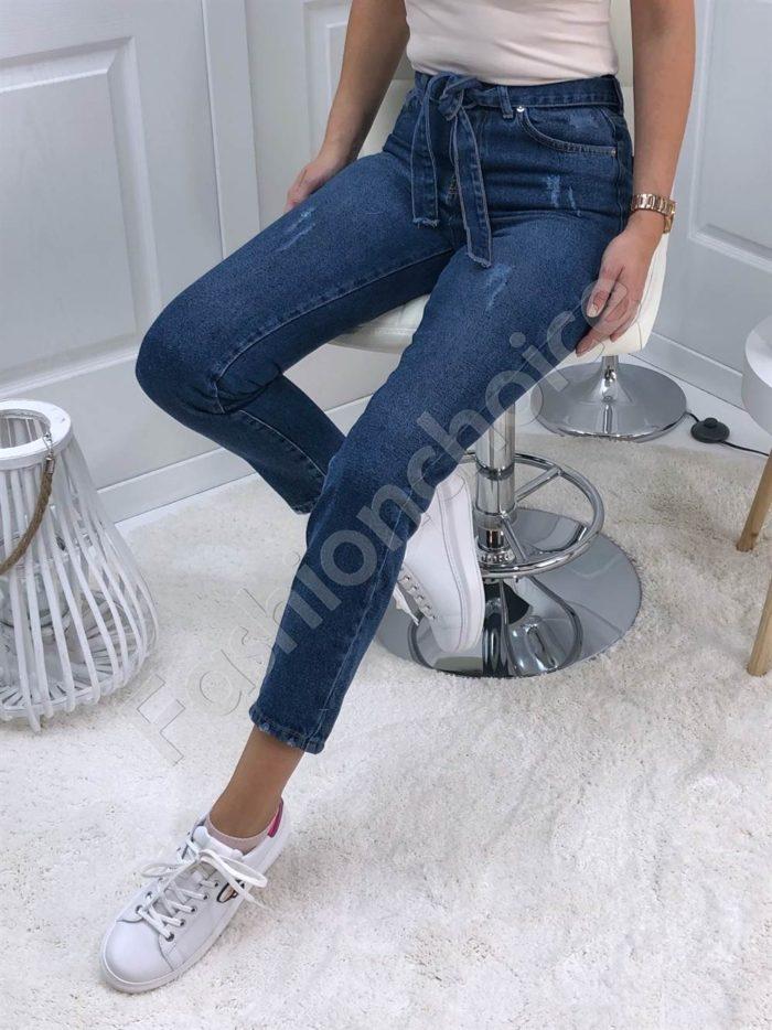 Дамски дънки MOM FIT с висока талия и колан-сини Код 4282