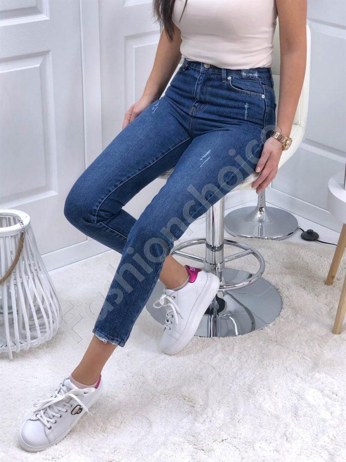 Дамски дънки MOM FIT с висока талия-сини Код 4264