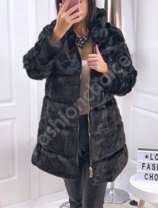 Дълго луксозно палто от еко косъм в черно-Код 0780